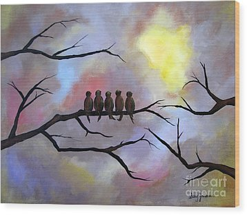 Birds Of A Feather Wood Print by Stacey Zimmerman