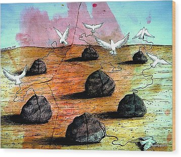Birds Solicitous Of Light Wood Print by Paulo Zerbato