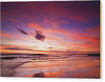 Birubi Point Sunset Wood Print by Paul Svensen