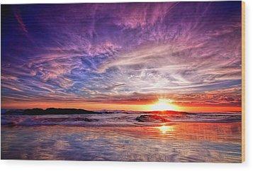 Birubi Point Sunset Redux Wood Print by Paul Svensen