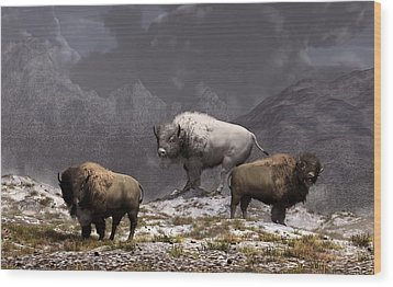 Bison King Wood Print by Daniel Eskridge