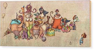 Bizarre Circus People Wood Print by Autogiro Illustration