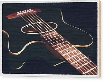 Black Acoustic Guitar Wood Print by Mike McGlothlen