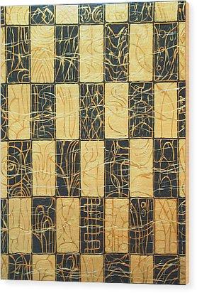 Black And Gold Japanese Checkered Pattern Wood Print by Kazuya Akimoto