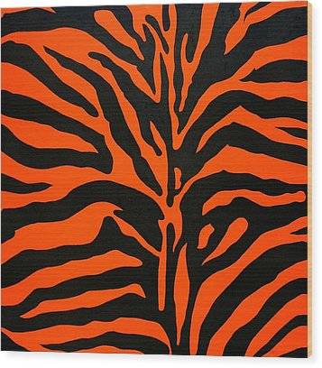 Black And Orange Zebra Wood Print