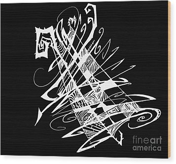 Black And White And Abstract All Over Wood Print by Stef Schultz Sorry Little Sharky