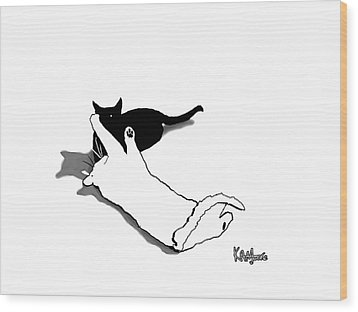 Black And White Cats Wood Print