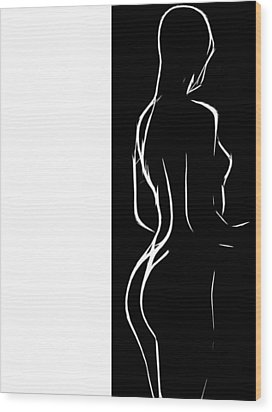 Black And White Erotic Wood Print by Steve K