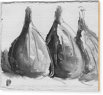 Black And White Fig Study Wood Print by Suzanne Jenne