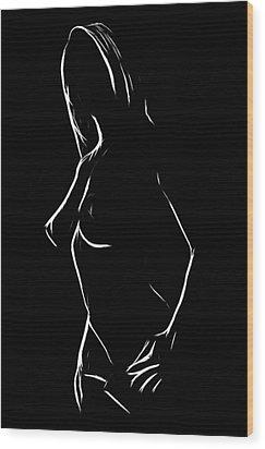 Black And White Girl Wood Print by Steve K