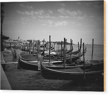 Wood Print featuring the photograph Black And White Gondolas by Laurel Best