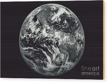 Black And White Image Of Earth Wood Print by Stocktrek Images