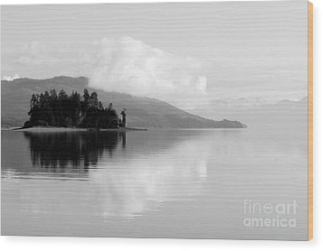 Black And White Island Near Hoonah Wood Print by Darcy Michaelchuk