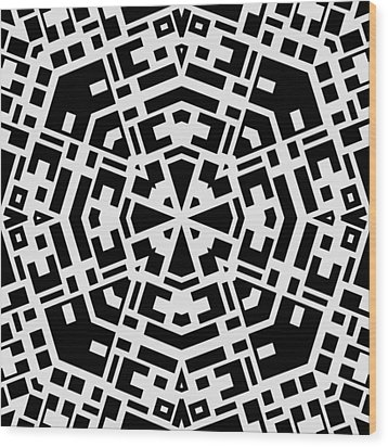 Black And White Kaleidoscope Wood Print by David G Paul