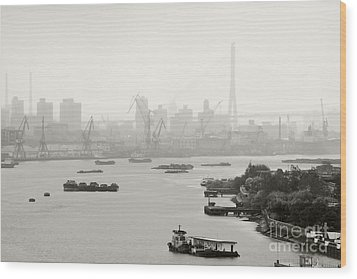 Black And White Of Cranes And River Traffic Wood Print by Jeremy Woodhouse