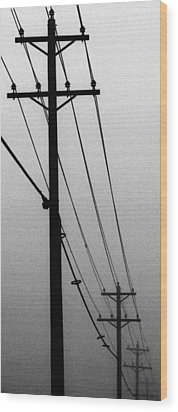 Black And White Poles In Fog Right View Wood Print by Tony Grider