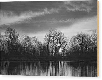 Black And White Sunrise Over Water Wood Print by James BO  Insogna