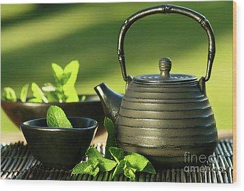 Black Asian Teapot With Mint Tea Wood Print by Sandra Cunningham