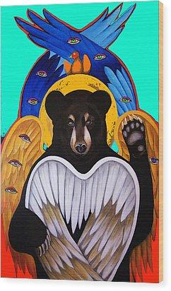Black Bear Seraphim Photoshop Wood Print by Christina Miller