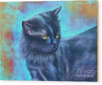 Black Cat Color Fantasy Wood Print by Gabriela Valencia