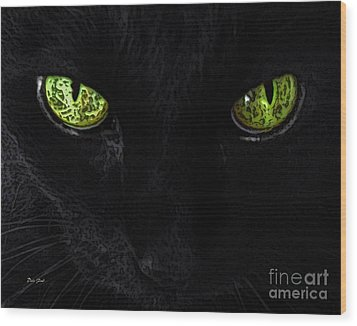 Black Cat Mystique Wood Print by Dale   Ford