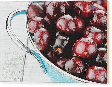 Black Cherries Wood Print by Stephanie Frey