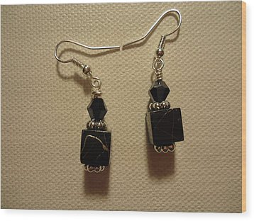 Black Cube Drop Earrings Wood Print by Jenna Green