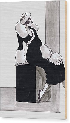 Black Dress With Fur Wood Print by Mel Thompson