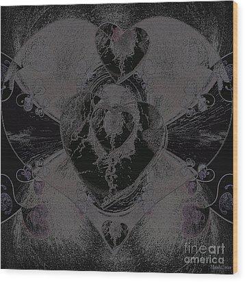 Black Heart Wood Print