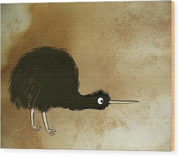 Black Kiwi Wood Print by Asok Mukhopadhyay