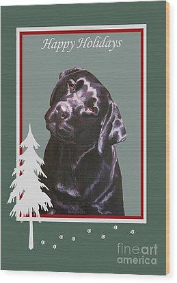 Black Labrador Portrait Christmas Wood Print