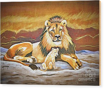 Black Maned Lion And Cub Wood Print by Phyllis Kaltenbach