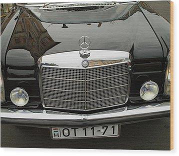 Black Mercedes Logo Wood Print by Odon Czintos