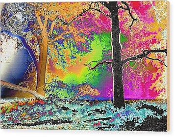 Black Oaks Yosemite Abstract Wood Print