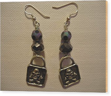 Black Pirate Earrings Wood Print by Jenna Green