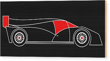 Black Rocket Racing Car Virtual Car Wood Print by Asbjorn Lonvig