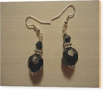 Black Sparkle Drop Earrings Wood Print by Jenna Green