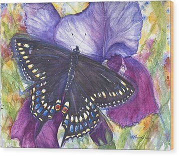 Black Swallowtail Butterfly Wood Print by Patricia Allingham Carlson