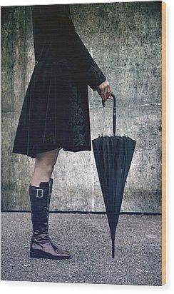 Black Umbrellla Wood Print by Joana Kruse