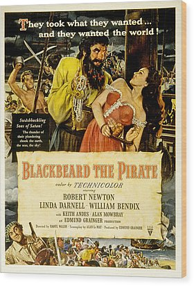 Blackbeard The Pirate, Poster Art Wood Print by Everett