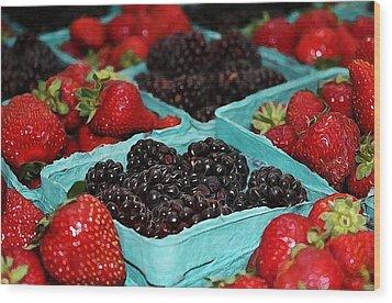Blackberries And Strawberries Wood Print by Cathie Tyler