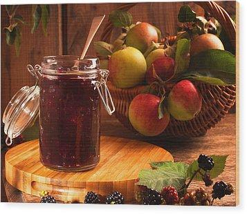 Blackberry And Apple Jam Wood Print by Amanda Elwell