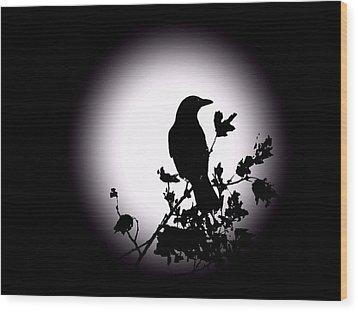 Blackbird In Silhouette  Wood Print by David Dehner