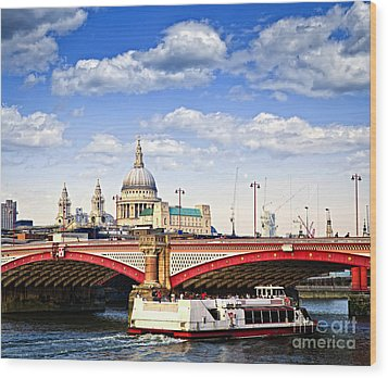 Blackfriars Bridge And St. Paul's Cathedral In London Wood Print by Elena Elisseeva