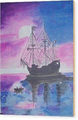 Blackpearl Wood Print by Audrey Pollitt