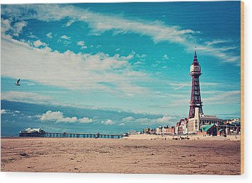 Blackpool Tower And Pier Wood Print by Michelle McMahon