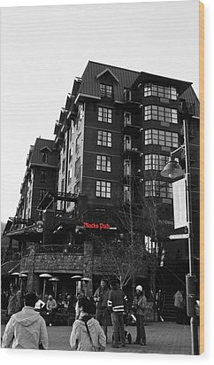 Wood Print featuring the photograph Blacks Pub Whistler Canada by JM Photography