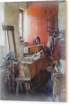 Blacksmith Shop Near Windows Wood Print by Susan Savad