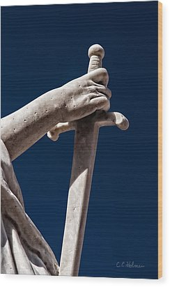 Blade In Hand Wood Print by Christopher Holmes