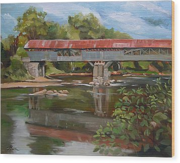 Blair Bridge Campton New Hampshire Wood Print by Nancy Griswold